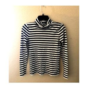 J.CREW Striped Mock Neck Pullover Full Sleeve Top